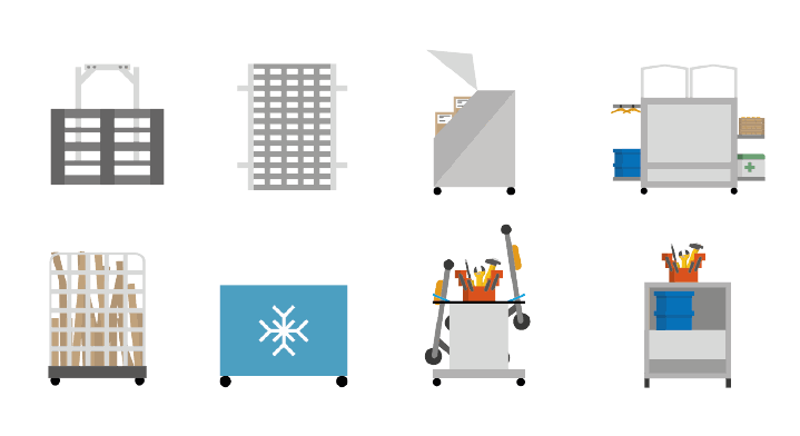 Fork with Euro pallet, flatbed, parcel container with wheels, boxes container with boxes inside and two wheels, roll container with cardboards, wheeled blue container with snowflake on it, open container with tools