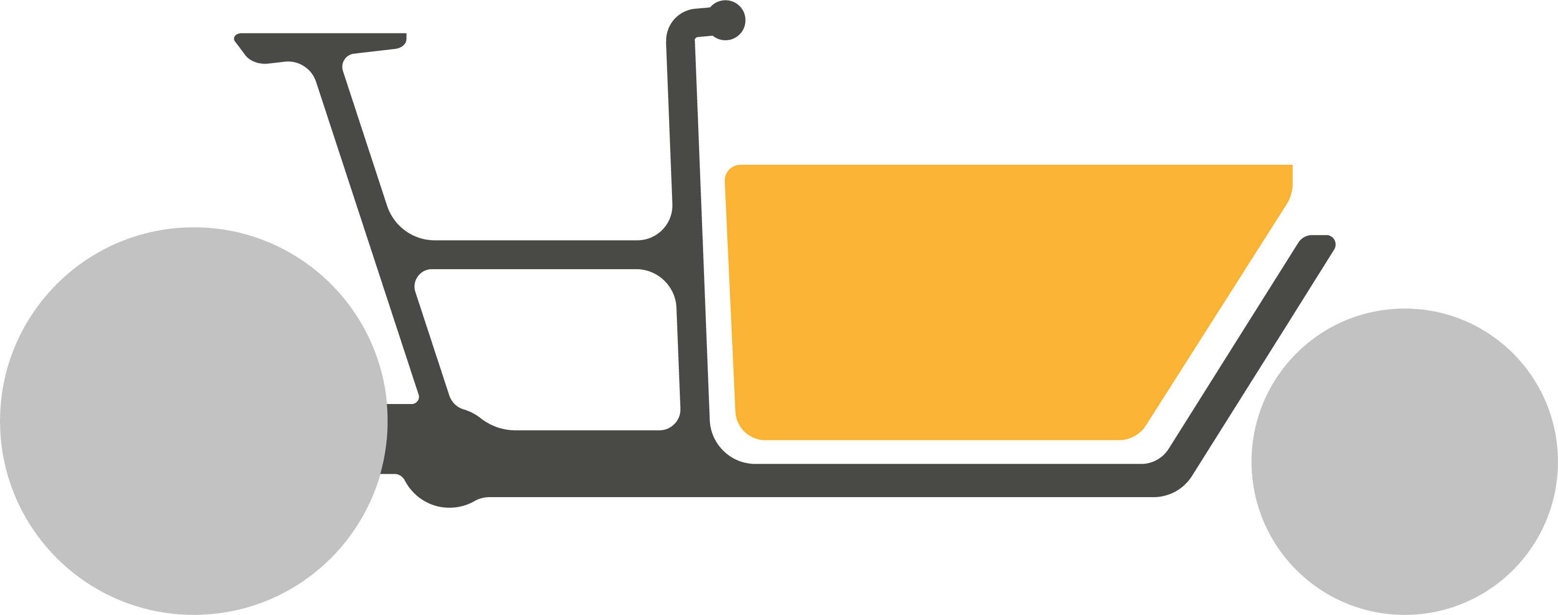 Pictogram of a black cargo bike with an orange box in front and grey wheels